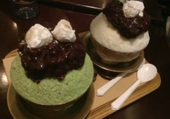 Green tea red bean bingsu (녹차팥빙수 & 팥빙수)